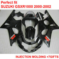 Tanie wtryskiwania fairing zestaw do Suzuki GSXR1000 2000 2000 2001 2002 czarny fairings GSXR1000 00 01 02 MY67