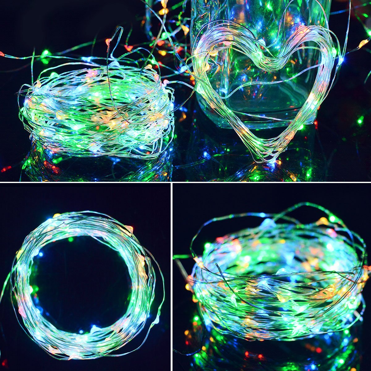 Solar Powered Copper Wire LED String Lights 200 LED Starry Rope ...