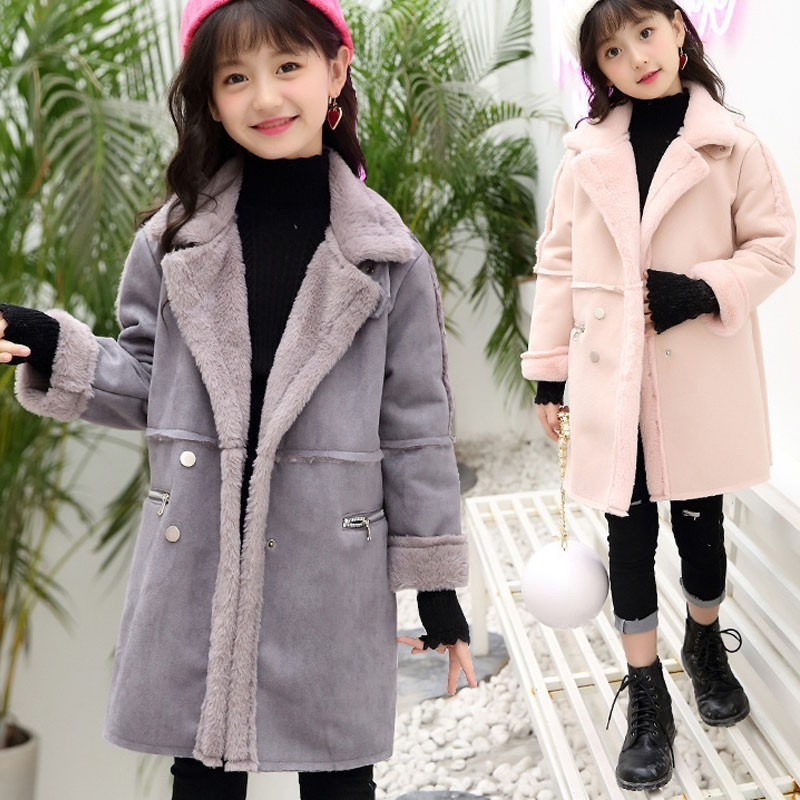 School Fleece Teen Girls Autumn Coat Winter Clothing Pink Grey Pockets Toddler Autumn Jacket Outerwears 2018 New Arrive mulinsen new arrive 2017 autumn winter men