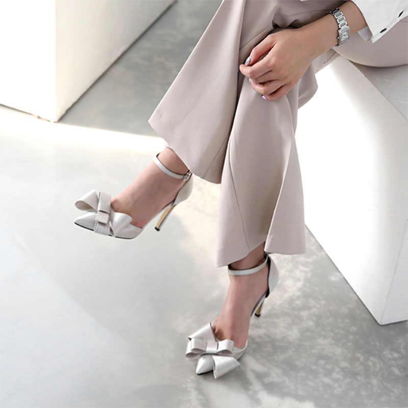 Saten kurdele kadın ayakkabısı yaz ve sonbahar yeni stiletto sivri yüksek topuklu tek kayış toka sandalet sığ ağız kadın ayakkabısı