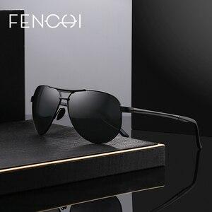 Поляризованные солнцезащитные очки FENCHI для мужчин и женщин, брендовые Дизайнерские Модные металлические солнцезащитные очки с защитой UV400 ...