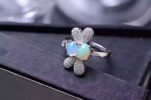 Natural opal gem Ring Natural gemstone ring 925 sterling silver trendy Elegant cute butterfly fly women girl party gift Jewelry