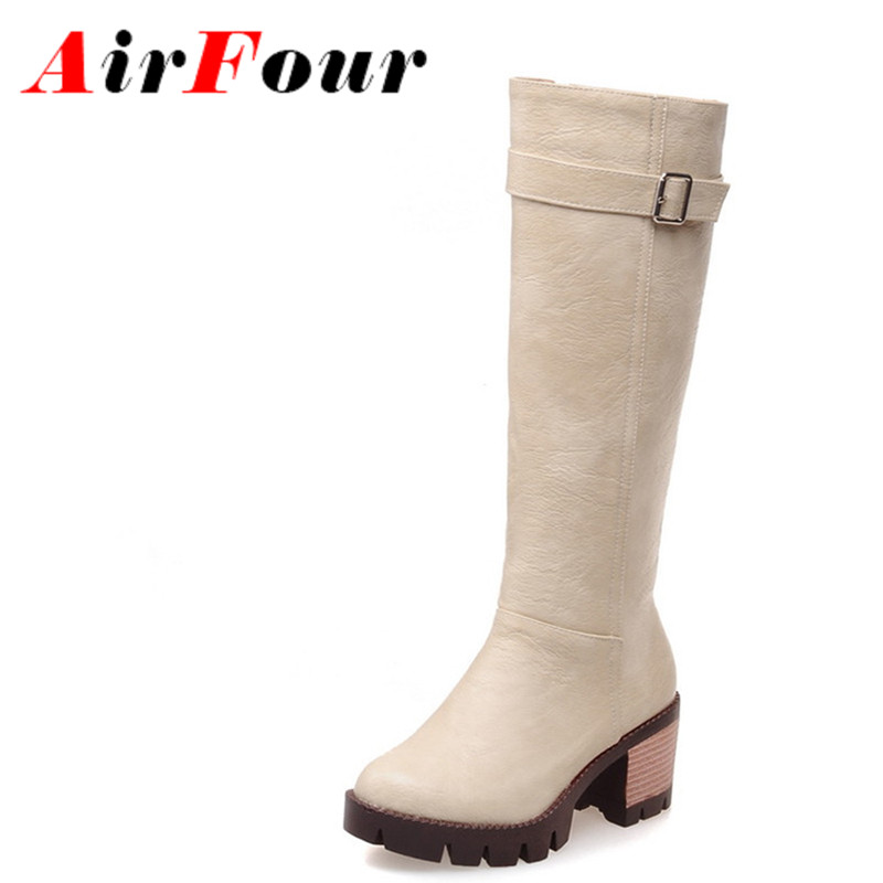 ФОТО Airfour New High Square Heel Knee-High Boots Women Sexy Fashion Buckle Zip Winter Women Med Heel Half Boots Shoes Sale