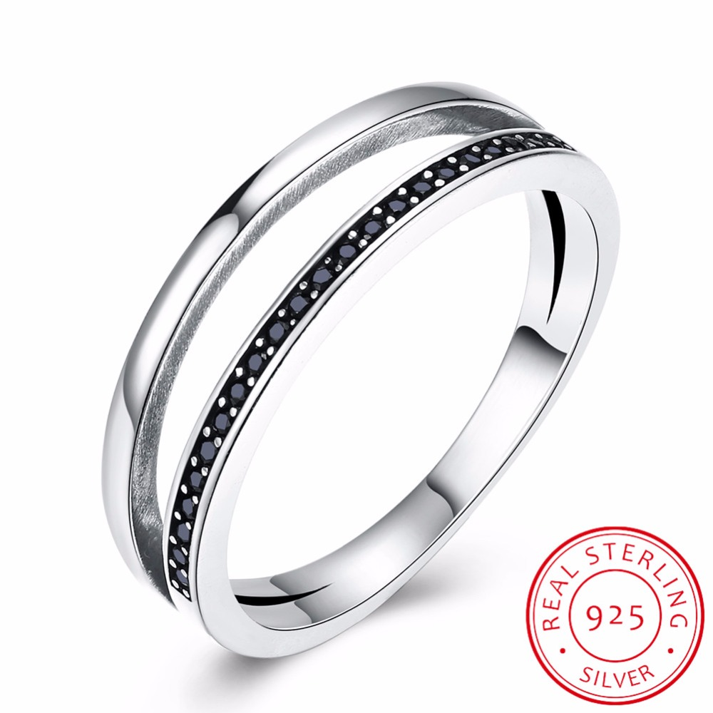 INALIS Genuine 925 Sterling Silver Double Circle Black Clear CZ Stackable Finger Ring for Women Fine Silver Jewelry Gift SCR082