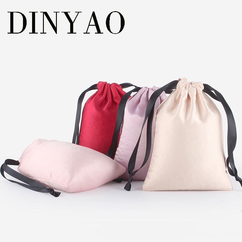 2pcs/lot High Quality Logo Printed Satin Silk Drawstring Pouch Wholesale Packaging Small Gift Bag Travel Pouch