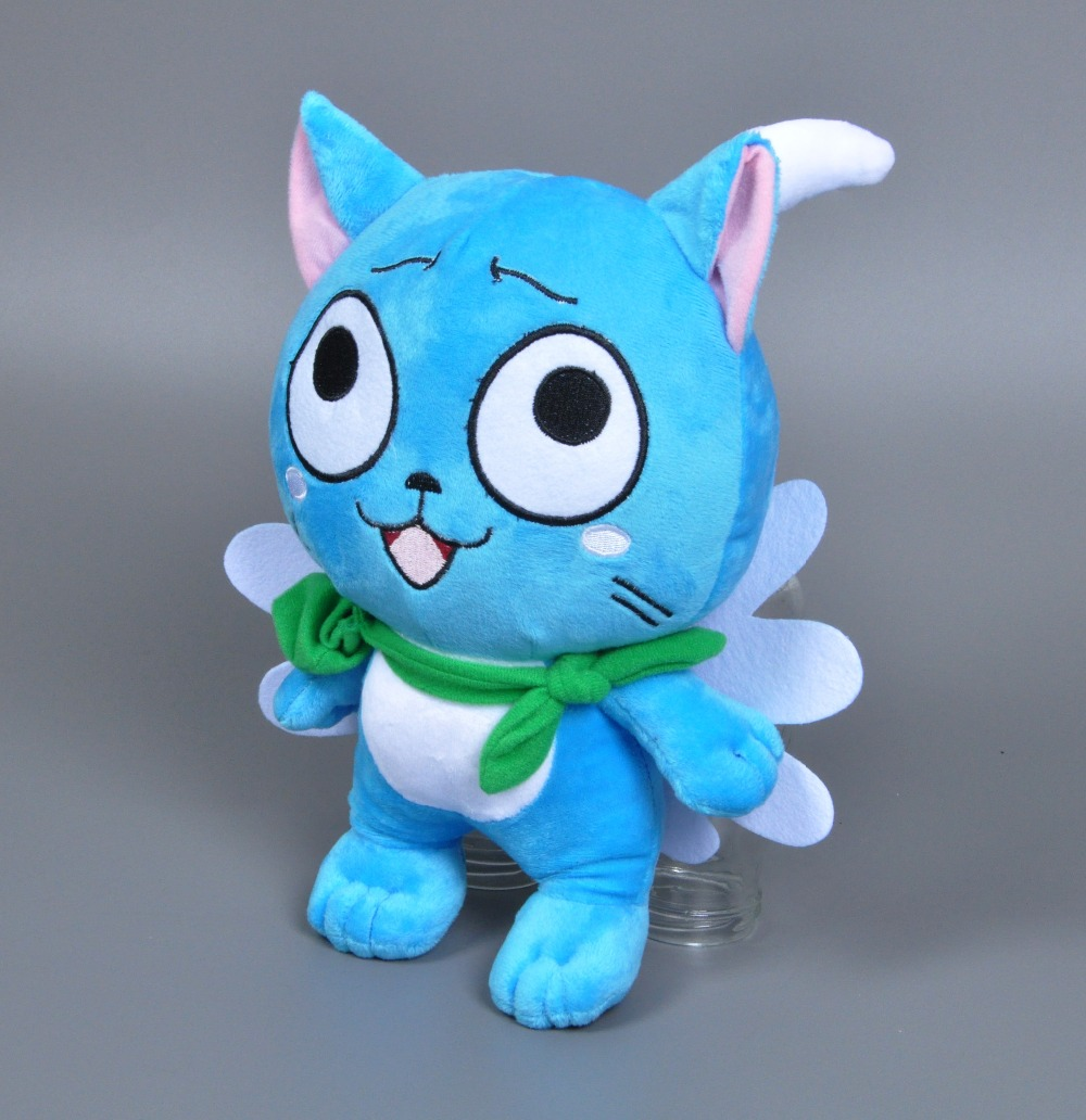 Anime Cat With Wings 30cm anime fairy tail happy hold fish plush toy cartoon naz