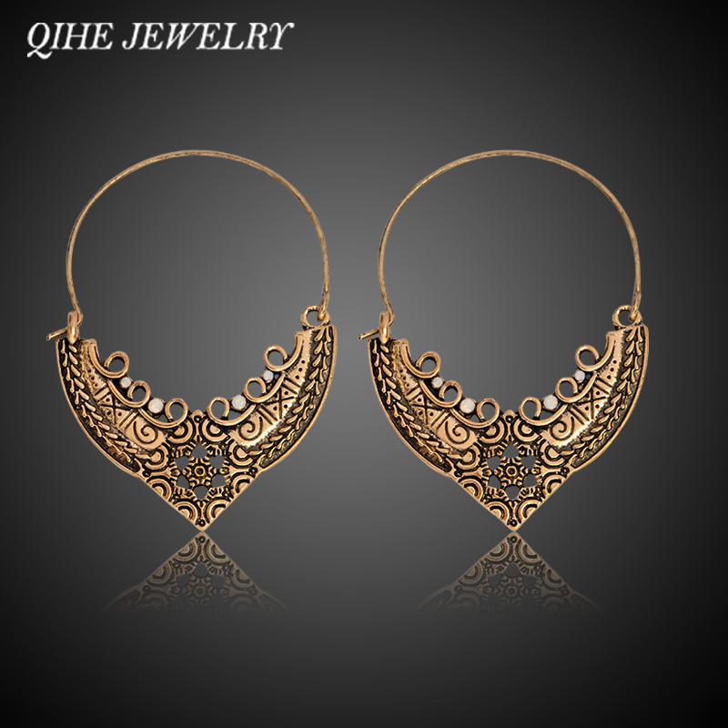 QIHE JEWELRY Hollow Carved Charm Statement Hoop Earrings Women Ethnic Retro Accessories Jewelry