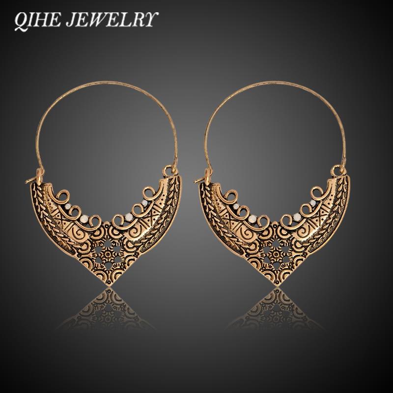 QHEHE תכשיטים מגולפים חלול מגולף חישוק עגילים נשים אתני רטרו אביזרים תכשיטים