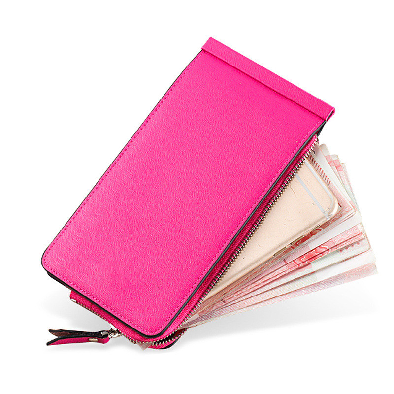2019 New Soft Leather Wallet for Women 20 Cards Holder Leather Zipper Purse Ladies Bifold Card Case Phone Holder in Wallets from Luggage Bags