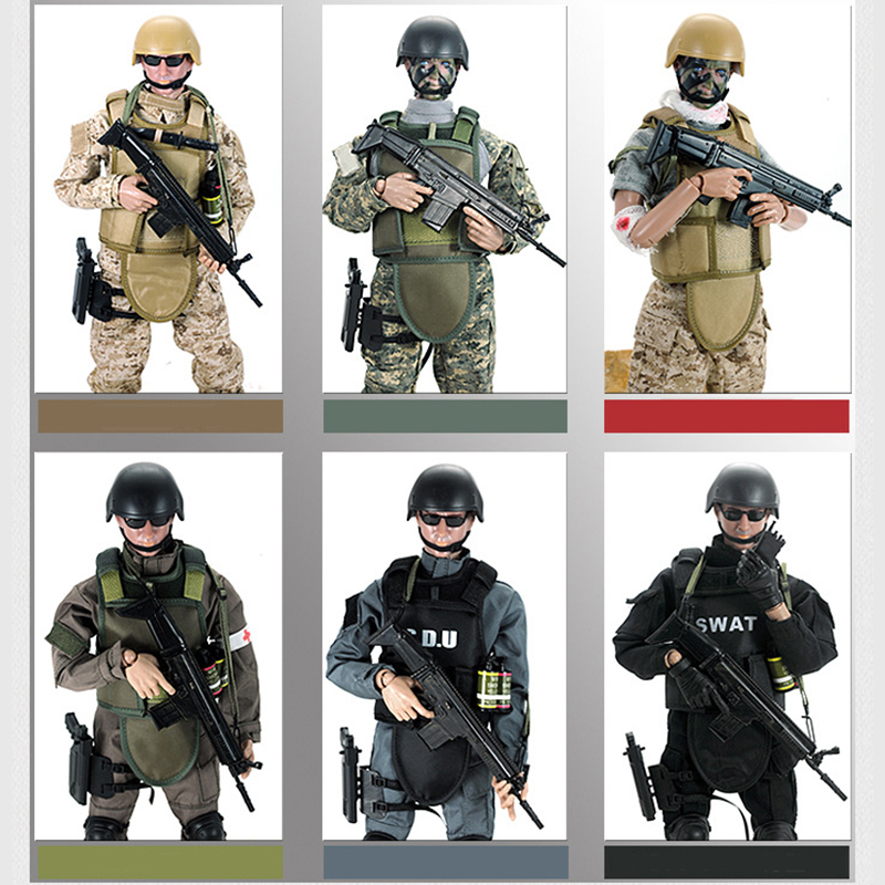Movable 5 style 12 1/6 SWAT Black Uniform Military Army Combat Game Toys Soldier Set SDU SEALs Action Figure Model Toys E фигурка planet of the apes action figure classic gorilla soldier 2 pack 18 см