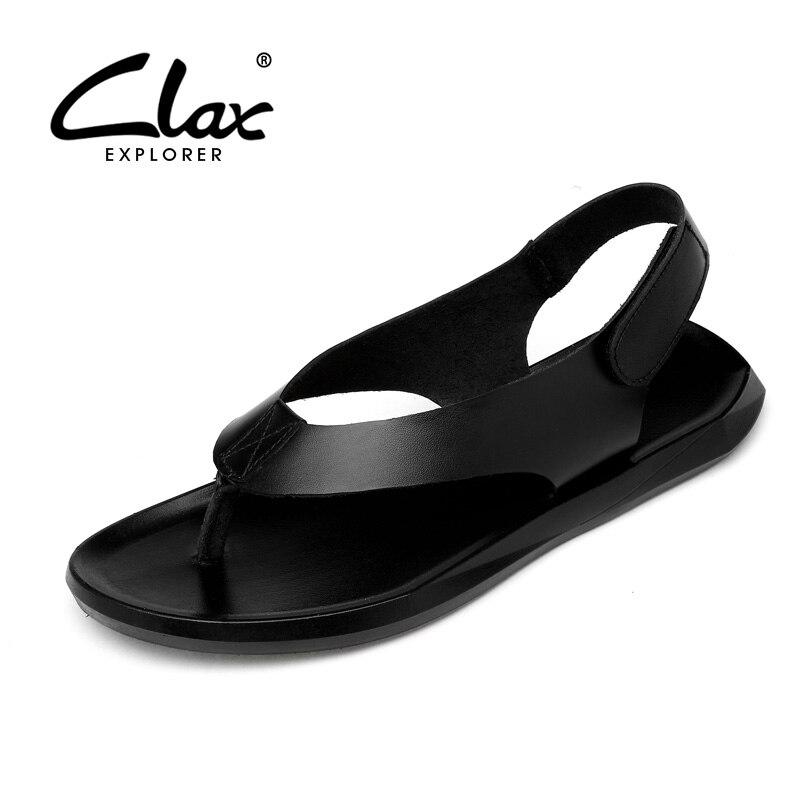 CLAX נעל הליכה פנאי אופנה 2018 קיץ גברים סנדלי עור אמיתי מזדמן אדם לנשימה סנדלי גלדיאטור הנעלה רך