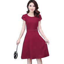 Summer Fashion Women Slim A-word Temperament O Neck Short Sleeve Elegant Chiffon Dress