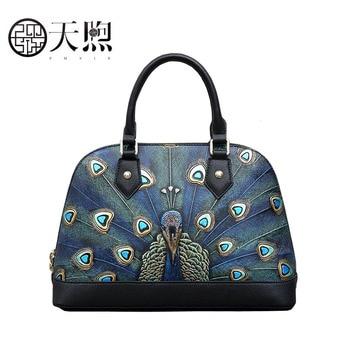 Pmsix 2020 New Women Genuine Leather bags Cowhide handbags Fashion Embossed shell bag Luxury tote women handbags leather bag
