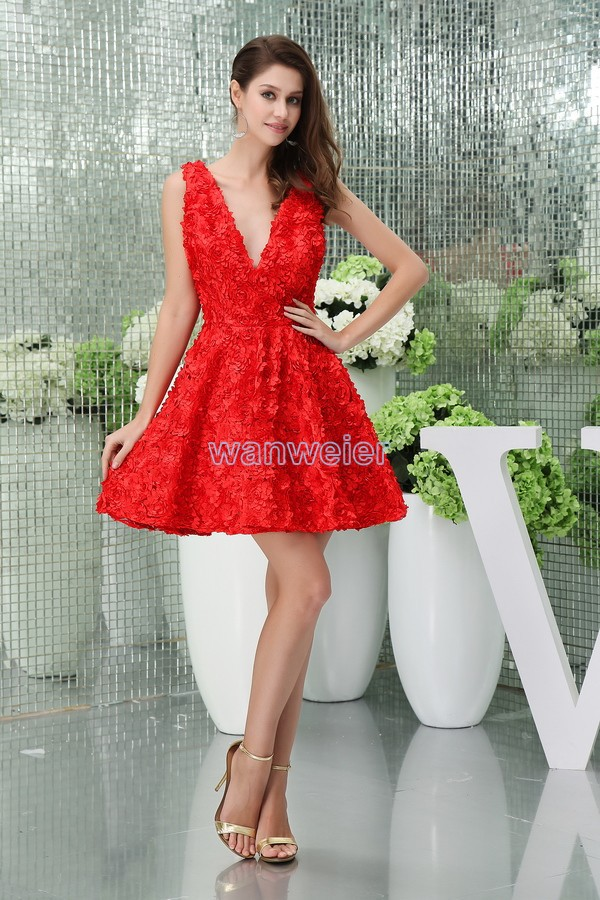 free shipping 2017 new design coral   dress   short red cap sleeve sexy plus size women's formal V-neck   Bridesmaid     Dresses