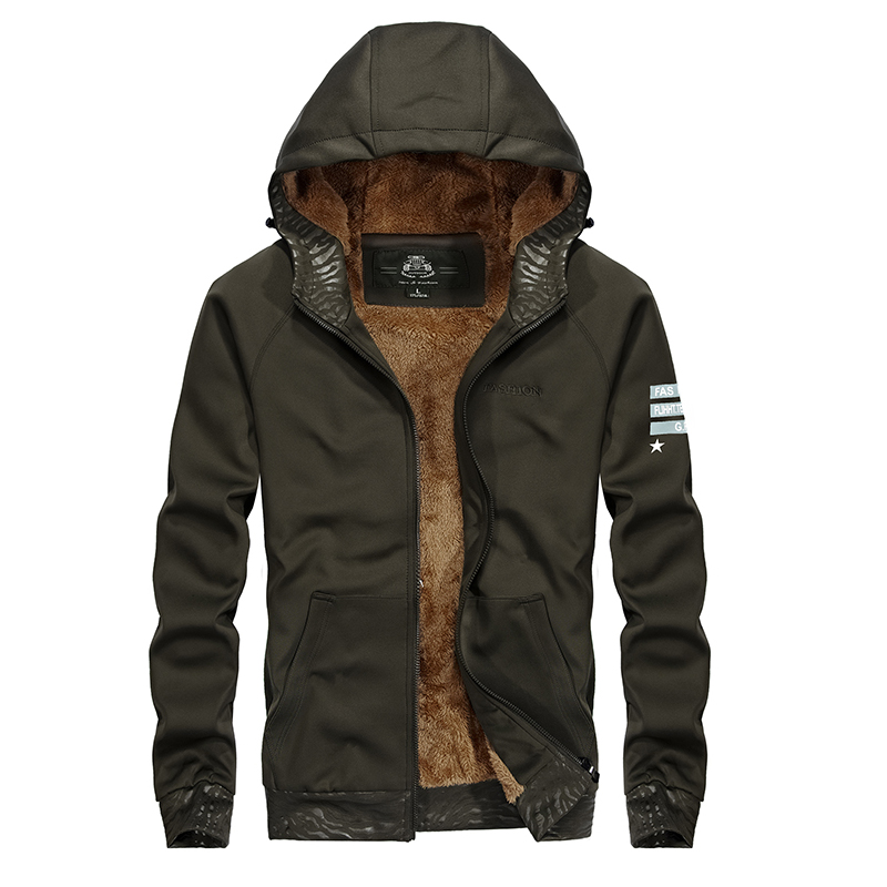 AFS JEEP AUTUMN WINTER MEN'S NEW SWEATSHIRTS PLUS CASHMERE THICKER HOODED CARDIGAN MEN CASUAL FASHION JACKETS SOLID ALL MATCH autumn and winter new men s fashion thicker warm wool cap hooded knit cap