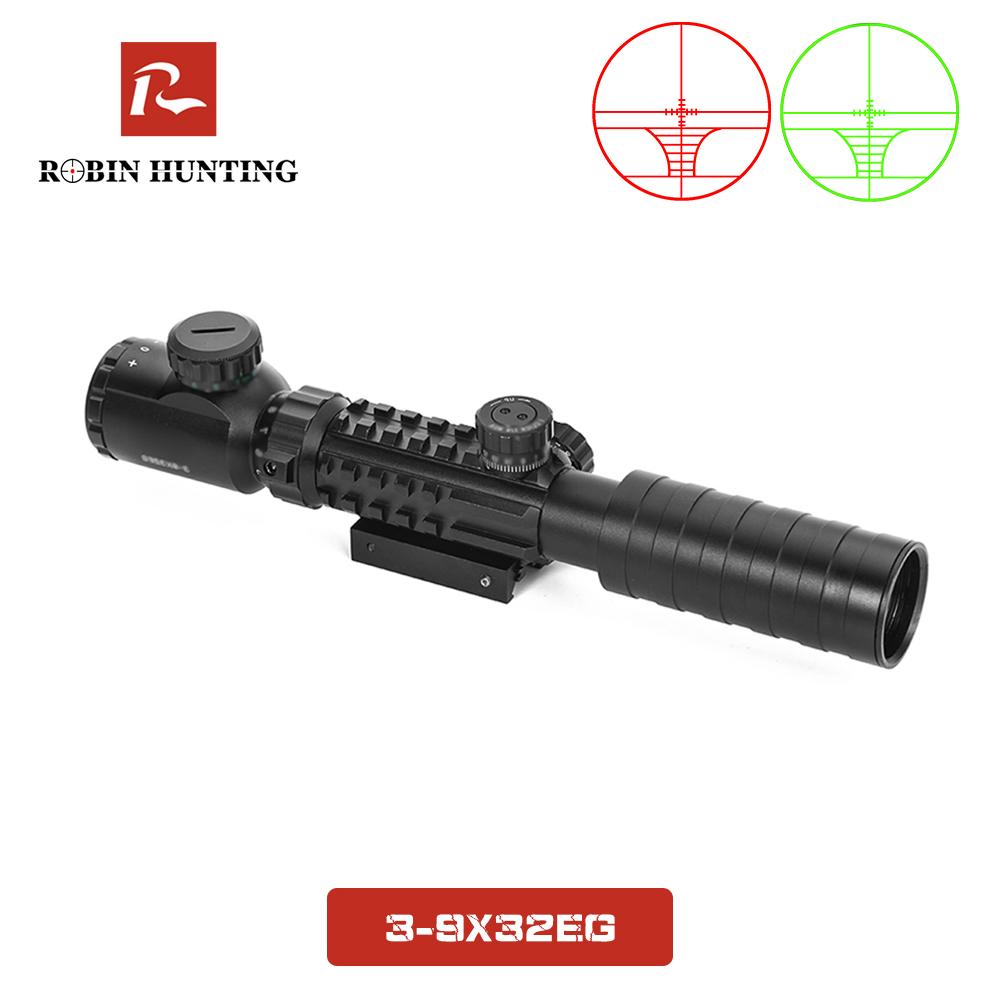 3-9x32 EG Tratical Hunting Riflescope Fit 11/20MM Picatinny Rail Mount For Airsoft Air Gun Red Green Illuminated Optical Sight
