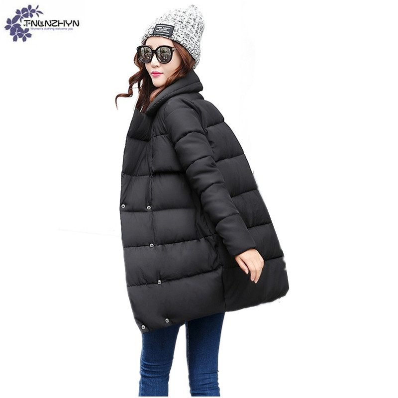 TNLNZHYN winter fashion Women clothing Cotton coat casual large size Long sleeve Thickening keep warm female Outerwear TT698