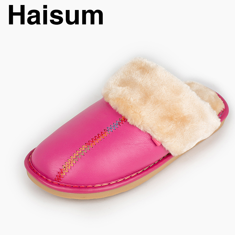 Ladies Slippers Winter genuine Leather Thick With Plush Home Indoor Non-slip Thermal Slippers 2018 New Hot Sale Haisum Tb013 men s slippers winter pu leather home indoor non slip thermal slippers 2018 new hot haisum h 8007