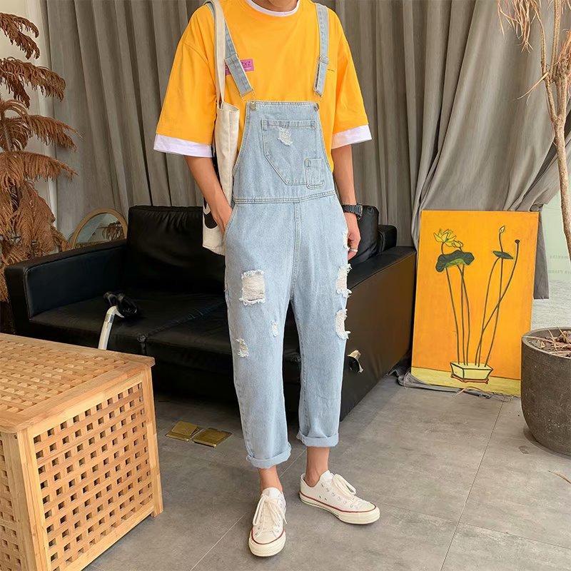 2020 Men Brand Denim Jumpsuit Overalls Jeans Casual Suspenders Pants Men Fashion Hip Hop Jumpsuit Jean Pant Streetwear M-XXXL