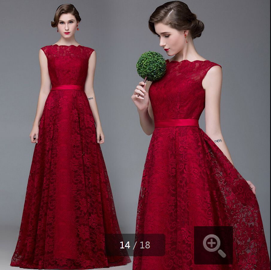 2015 fashion red carpet scoop neckline wine lace evening dress floor length sleeveless sexy open back dresses