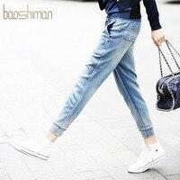 נשים ג 'ינס מותן גבוה Loose שטף מכנסיים ג' ינס אמיתי בתוספת גודל אור כחול החבר ז 'אן ג' ינס עיפרון כותנה Femme