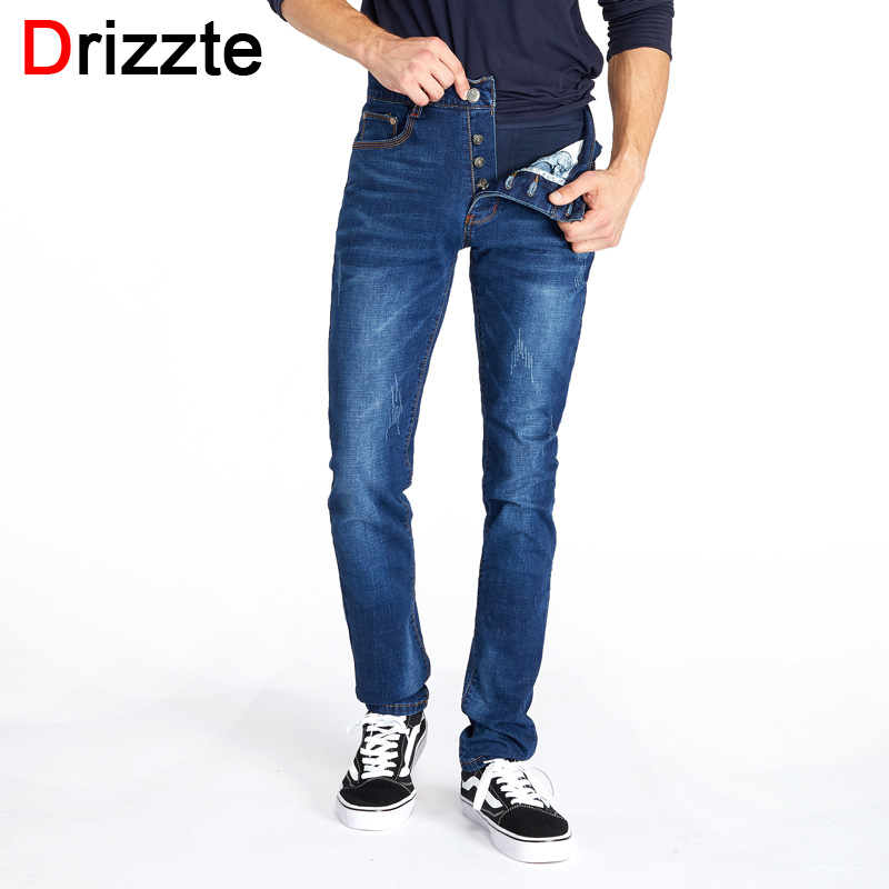 где купить Drizzte Button Fly Classic Jeans Casusal Blue Slim Fit Stretch Denim Jeans Size for Tall Men Brand Mens' Jeans Original Pants по лучшей цене