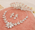 2015 Fashion flower bridal crown and tiara jewelry sets silver crystal wedding necklace earring set in stock