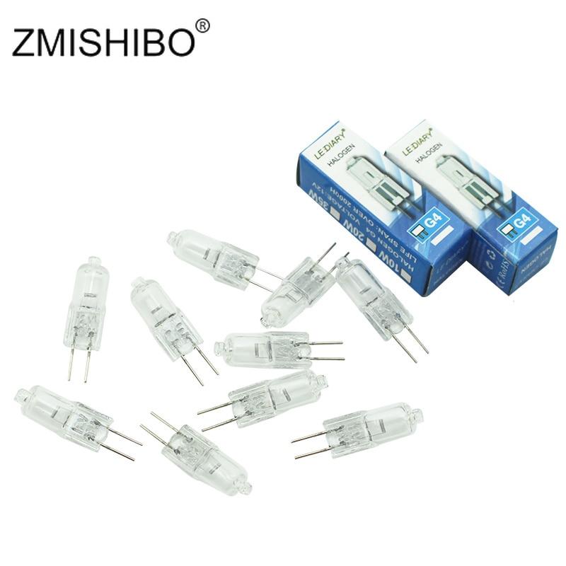 ZMISHIBO 10 шт./лот G4 галогенная лампа, 12 В переменного/постоянного тока, галогеновая лампа G4 с регулируемой яркостью 10 Вт/20 Вт/35 Вт 2800 к, прозрачна...