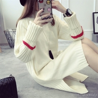 Women Autumn Long Knitted Red Office Work Loose Warm Dress Pullover School Girl Cute Fashion Vintage