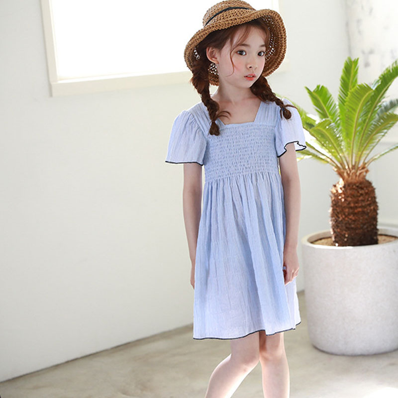 Backless Cotton Kids Summer Dresses For Girls Ruffles Blue