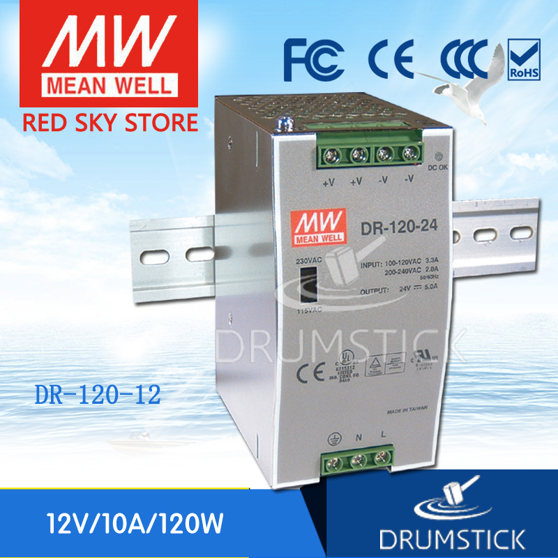 (12.12)MEAN WELL DR-120-12 12V 10A meanwell DR-120 120W Single Output Industrial DIN Rail Power Supply [Hot2] 120w 12v din rail single output switching power supply dr 120 12