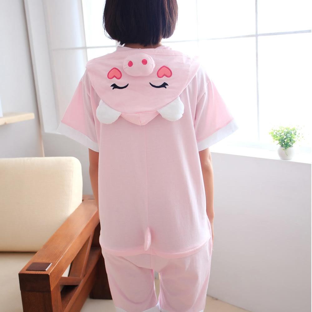 Summer Cotton Pajamas Animal Cartoon Cospaly Costume Short Pyjamas Unisex Family matching Onesie Hooded Sleepwear Pink Pig