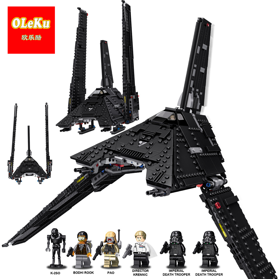 878PCS OLEKU 35010 Star Wars k-2so The imperial shuttle Building Blocks Model Toys for children starwars Compatible legoings the imperial image paintings for the mughal court