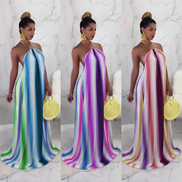 59fc72cb032 2018 Sexy Women Rainbow Stripe Backless Maxi Dress Halter Neck Backless  Summer Plus Size Dress Long