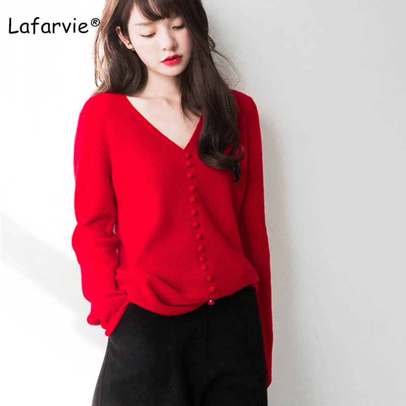 Lafarvie Spring Knitted V-neck Sweater women Wool Blended Pullover Female With Buckles 4 Colors S-XXL Slim Knitting Jumper Pull