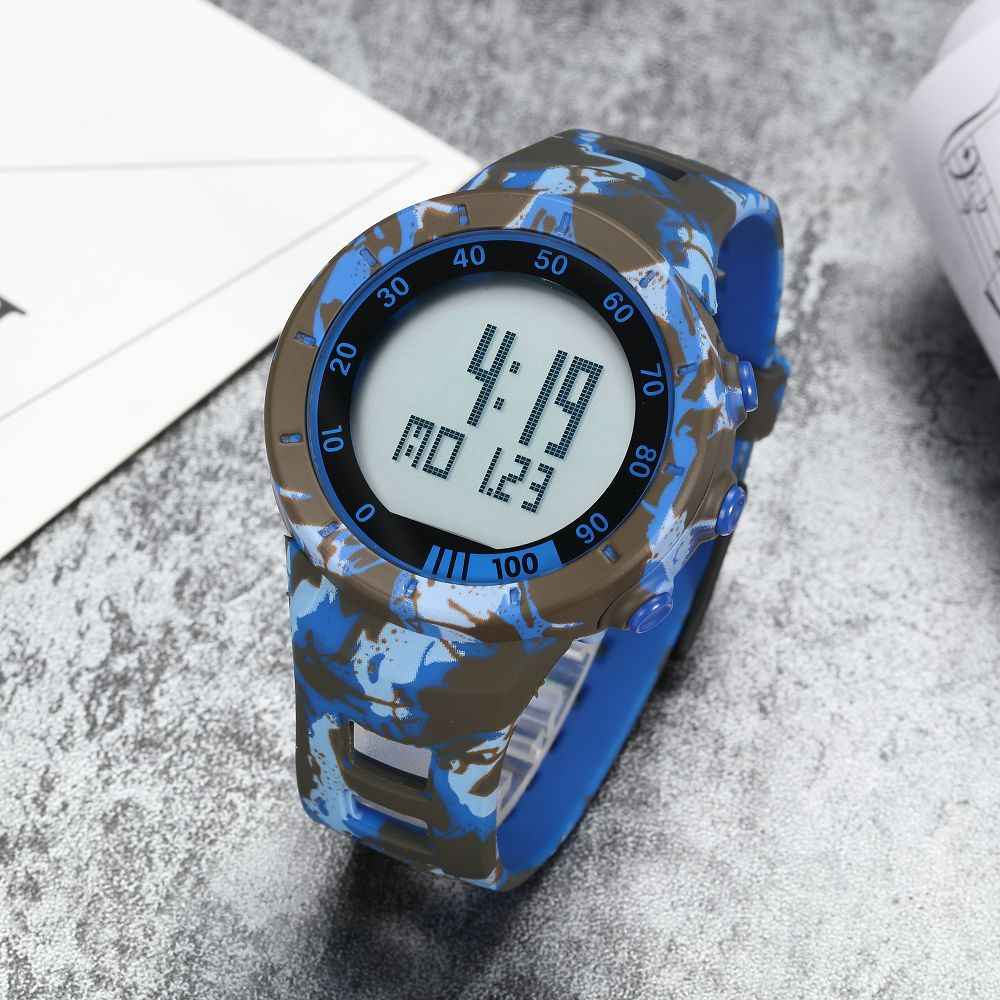 Fashion OHSEN Cool Digital Mans Hombre Watches Army Blue Rubber Strap Alarm Date LCD 50M Swim Sport Male Watch Reloj Masculio