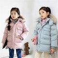 Meninas Roupa Dos Miúdos Jaqueta de Inverno 2016 Novos infantil Meninas Casaco de Inverno Crianças Pure Color Com Capuz Inverno Casacos Quentes casacos de menina