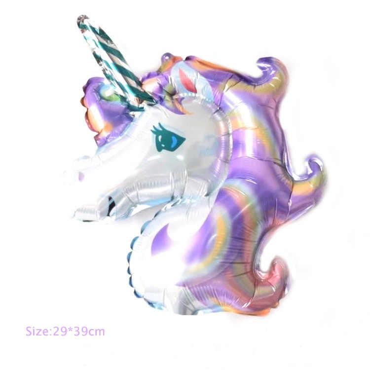 Barato! 1 piezas decoraciones de fiesta de cumpleaños de los niños globos de papel de aluminio unicornio globo fiesta suministros boda bebé ducha partido Decoración