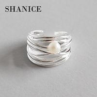 SHANICE Chic 925 Sterling Silver Open Rings Irregular Multilayer Lines Natural Freshwater Pearl Party Adjustable Fashion Jewelry