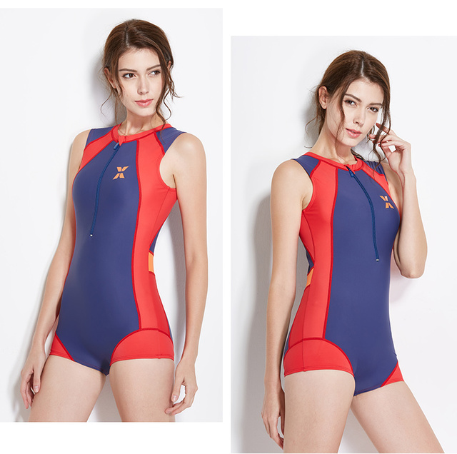 2018 Women s Conservative Athletic Training Full back Shaping Body One  Piece Swimsuit Swimwear Bathing Suit Zipper Girls Youth d866132c9