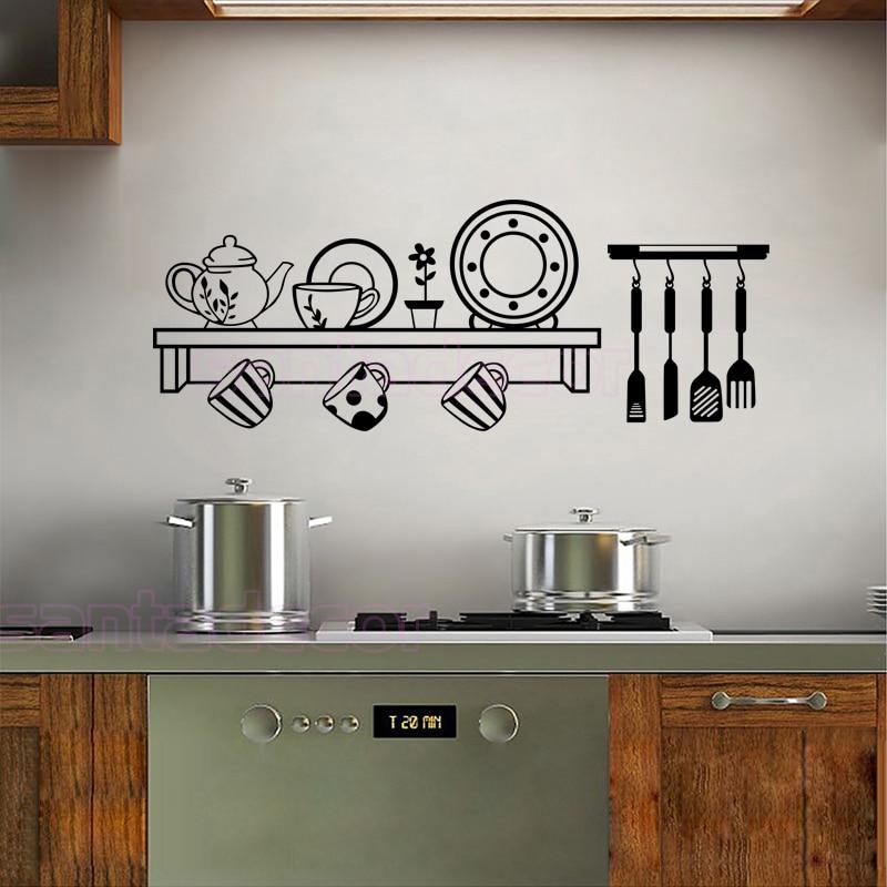 adesivi cucina mensola decalcomanie della parete del vinile carta da parati per cucina murale wall sticker