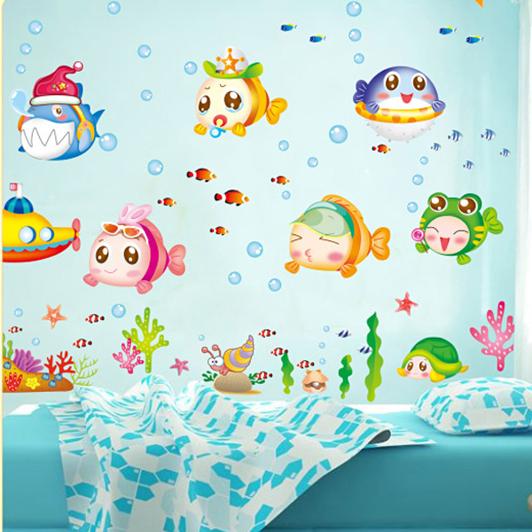 1 Set Cartoon Fish Waterproof Wallpaper For Bathroom Tile Decor Sea Animal  Wall Decals For Kids Room Decoration In Wall Stickers From Home U0026 Garden On  ...