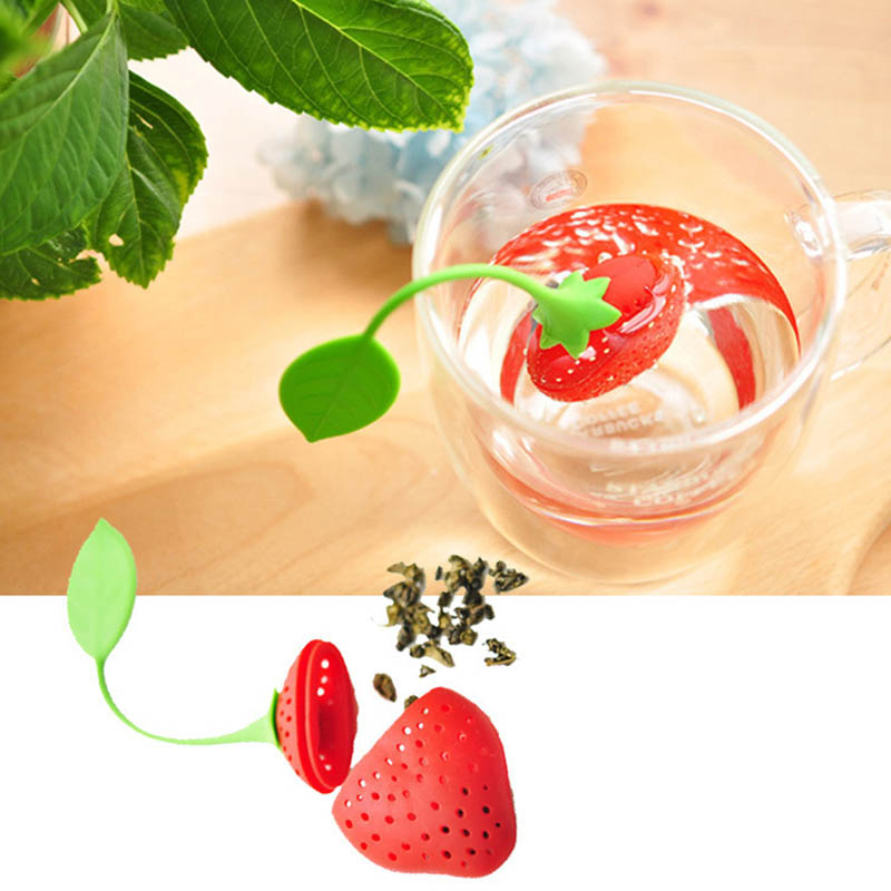1 PCS Strawberry Tea Strainer Non-toxic Silicone Tea Infuser Tea Bag Reuseable Teapot Accessory Kitchen Tool Home Supplies