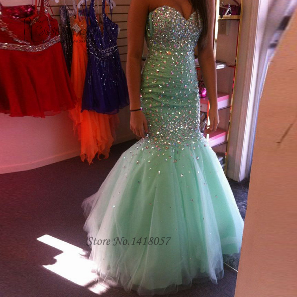Vestidos de Baile Mint Green Mermaid   Prom     Dress   Crystals Long Evening Gowns 2016 Ballkleider Buy Direct From China Sexy