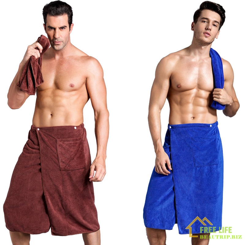 Wearable Magic BF Bath Towel With Pocket Swimming Soft Beach Blanket Shower Skirt Sports Gym Towels Sheet Swim Set For Adult Man
