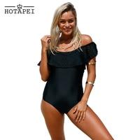 Hotapei One Piece Swimsuit Women Black Flounce Off Shoulder Bathing Suit 2017 New Bikinis Sexy Bodysuit