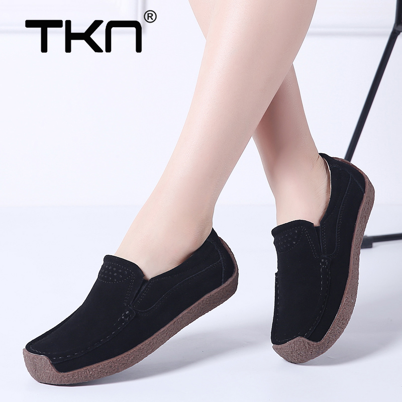 2019 Spring women flats shoes   leather     suede   slip on loafers ballet flats tenis feminino female oxford shoes for women QL526