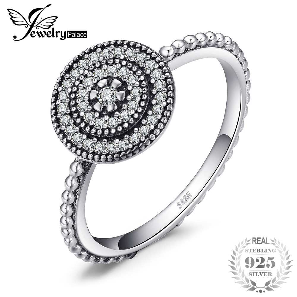 JewelryPalace 925 Sterling Silver TimeLss Friendship Halo Ring Gift For Her Mother Girlfriend Anniversary Present Fine Jewelry
