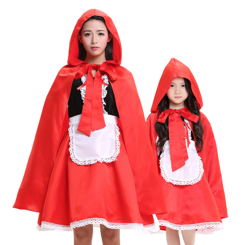 Umorden Party Halloween Costume for Family Matching Mother Daughter Little Red Riding Hood Costumes Cosplay for Women Kids Girls