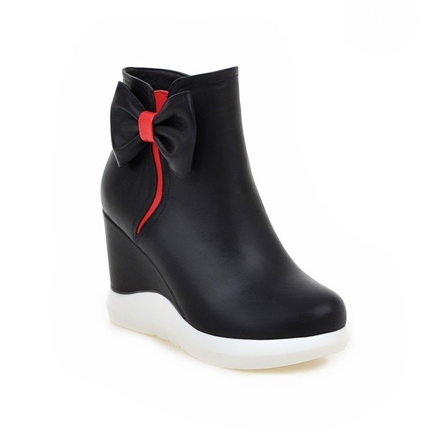 2018 Autumn And Winter Women's Casual Red White High Heeled Wedge Heel Ankle Boots Black Shoes Womens